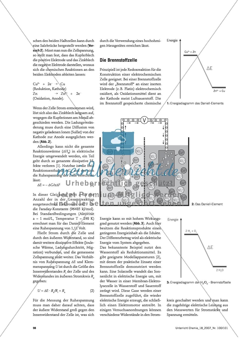 Energieumwandlungen verstehen - Energieumsatz in elektrochemischen Systemen Preview 1