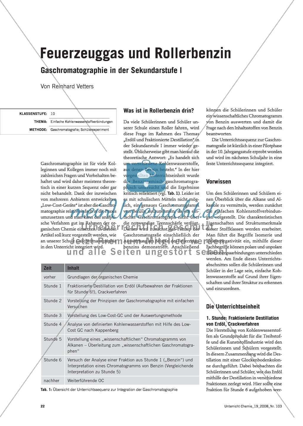 Unterrichtseinheit Gaschromatographie - Feuerzeuggas und Rollerbenzin Preview 0