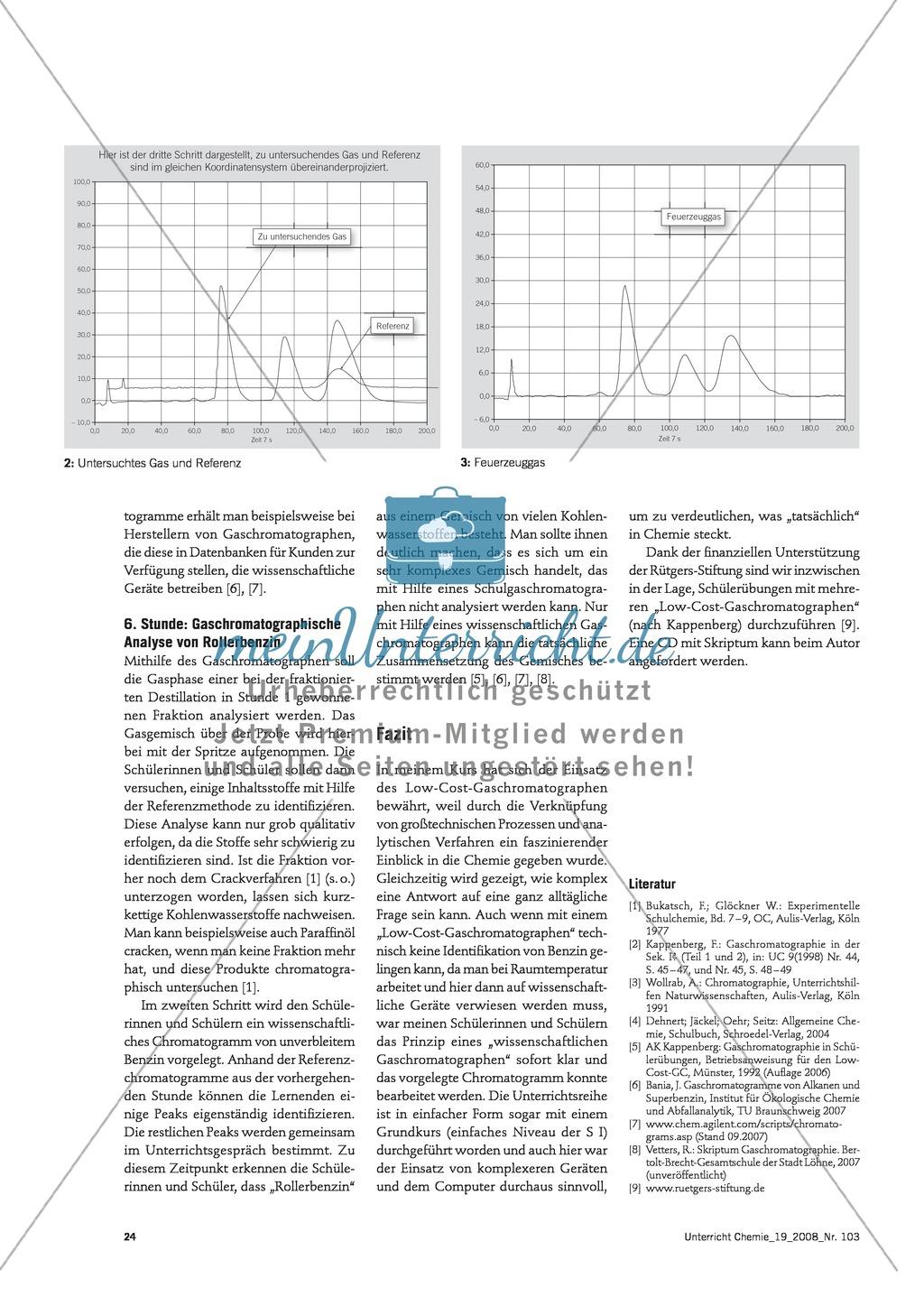 Unterrichtseinheit Gaschromatographie - Feuerzeuggas und Rollerbenzin Preview 2