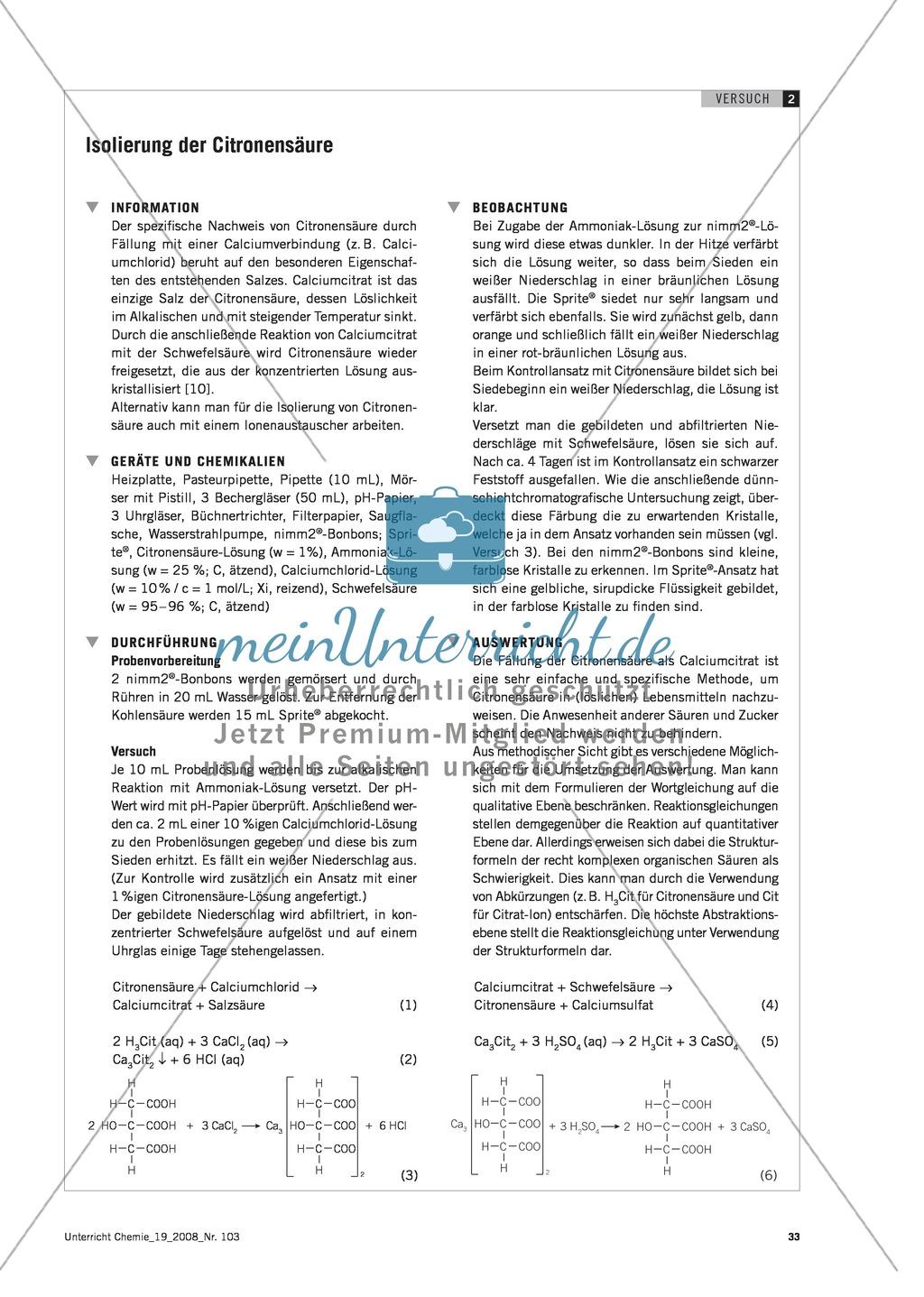 Citronensäure in Lebensmitteln - Experimente mit Sprite und nimm2 Preview 3