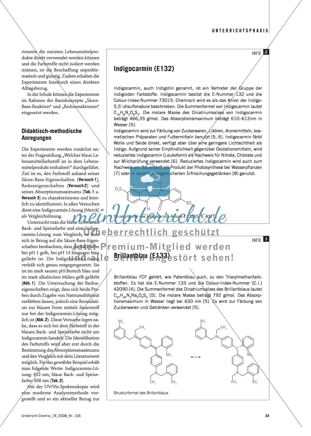Blaue Farbstoffe in Lebensmitteln: Säure-Base-Eigenschaften und Redoxeigenschaften Preview 1