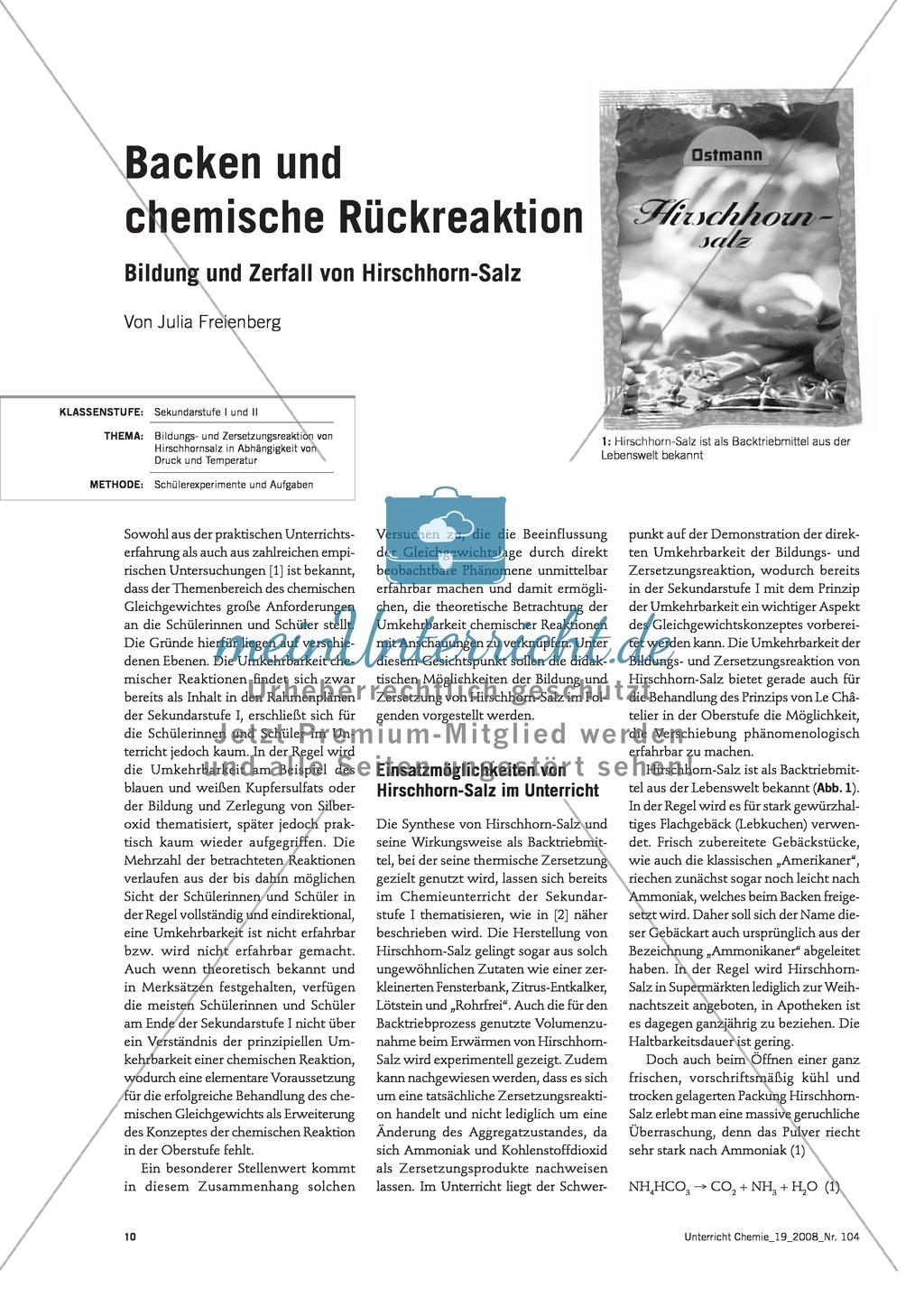 Bildungs- und Zersetzungsreaktion von Hirschhornsalz Preview 0