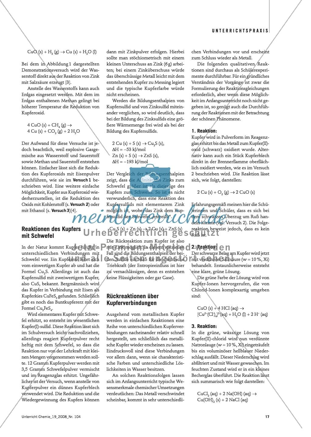 Der Kupferkreislauf: Hin- und Rückreaktionen von Kupferverbindungen Preview 1