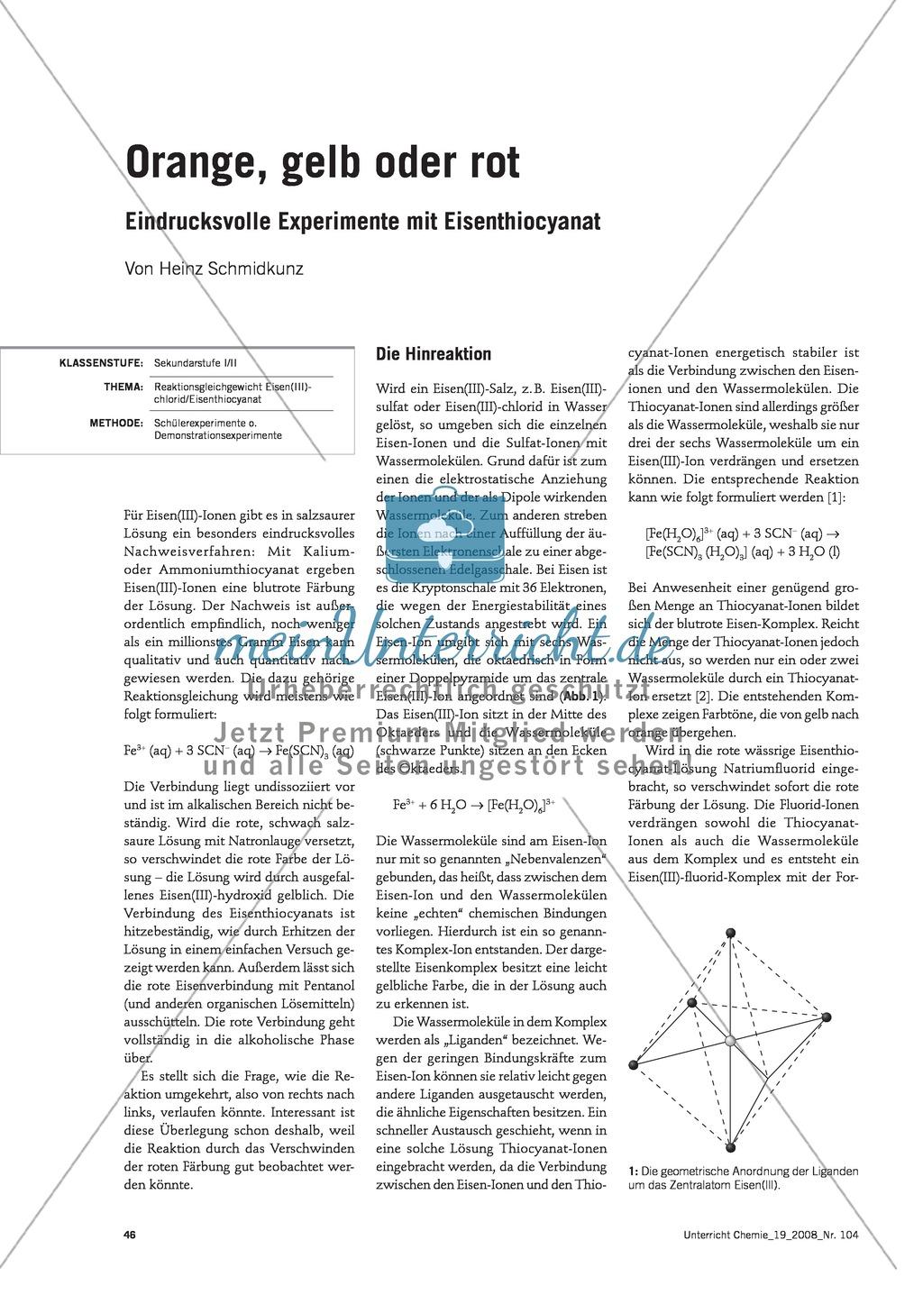 Vom Eisen(lll)-chlorid zum Eisenthiocyanat und zurück -  ein Reaktionsgleichgewicht Preview 0