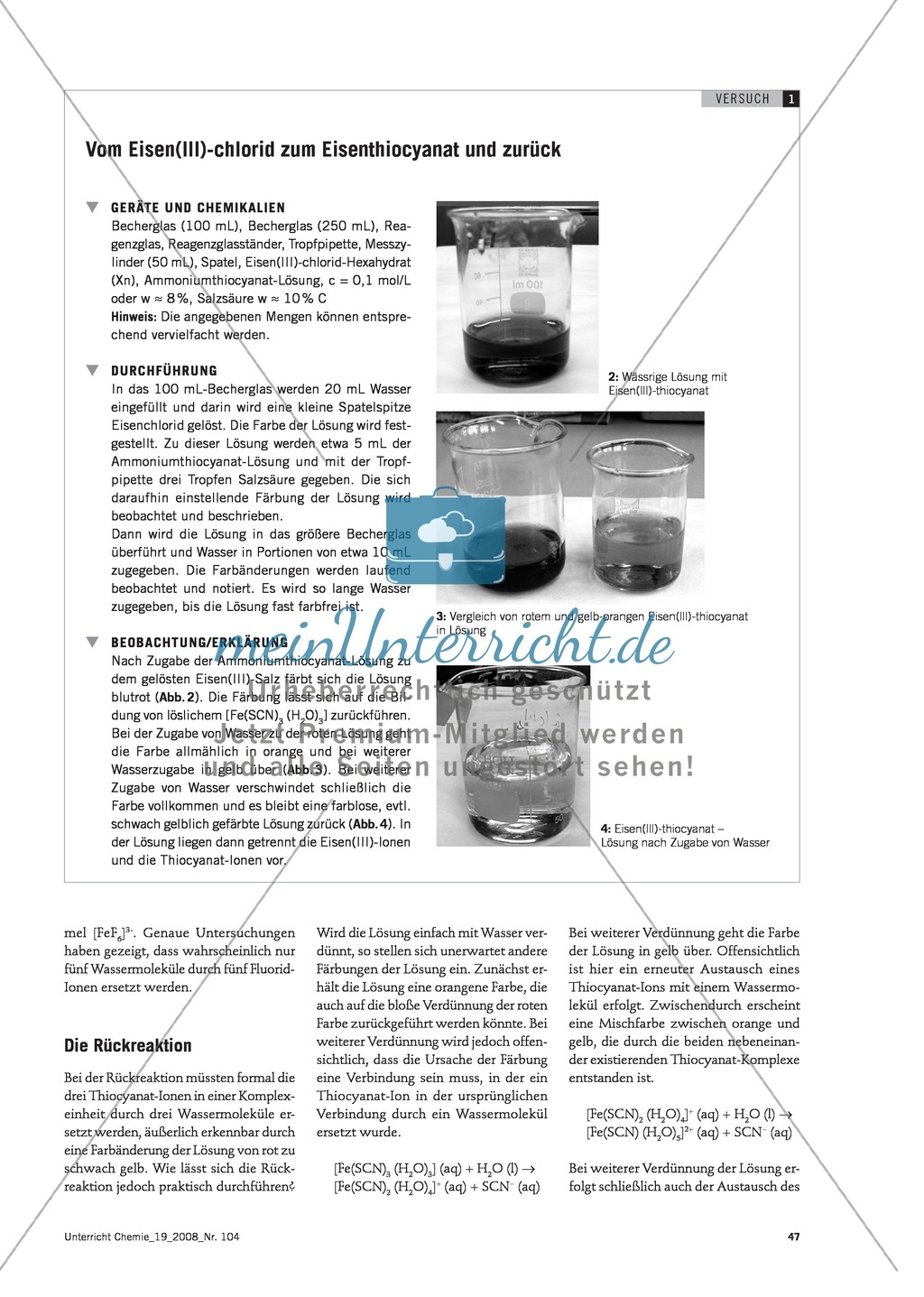 Vom Eisen(lll)-chlorid zum Eisenthiocyanat und zurück -  ein Reaktionsgleichgewicht Preview 1