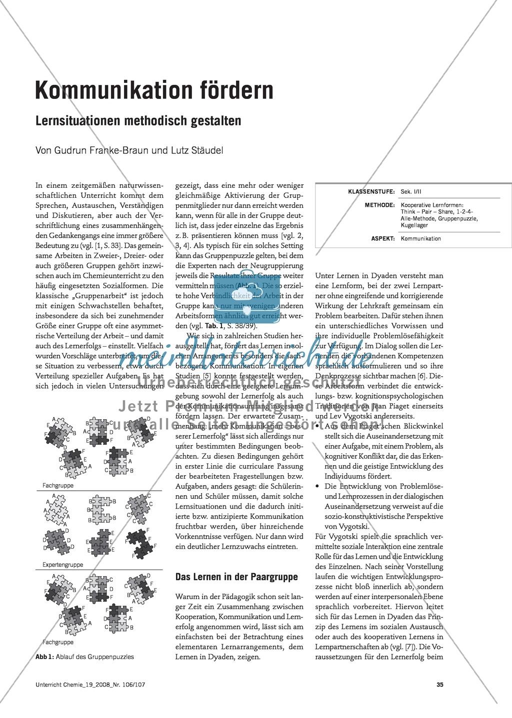 Verschiedene Methoden zur Förderung von Kommunikation im Chemieunterricht Preview 0