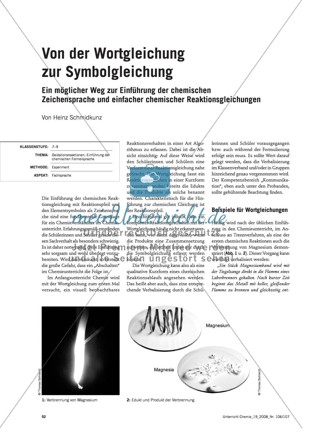 Von der Wortgleichung zur Symbolgleichung + Der Wertigkeitsbegriff ...