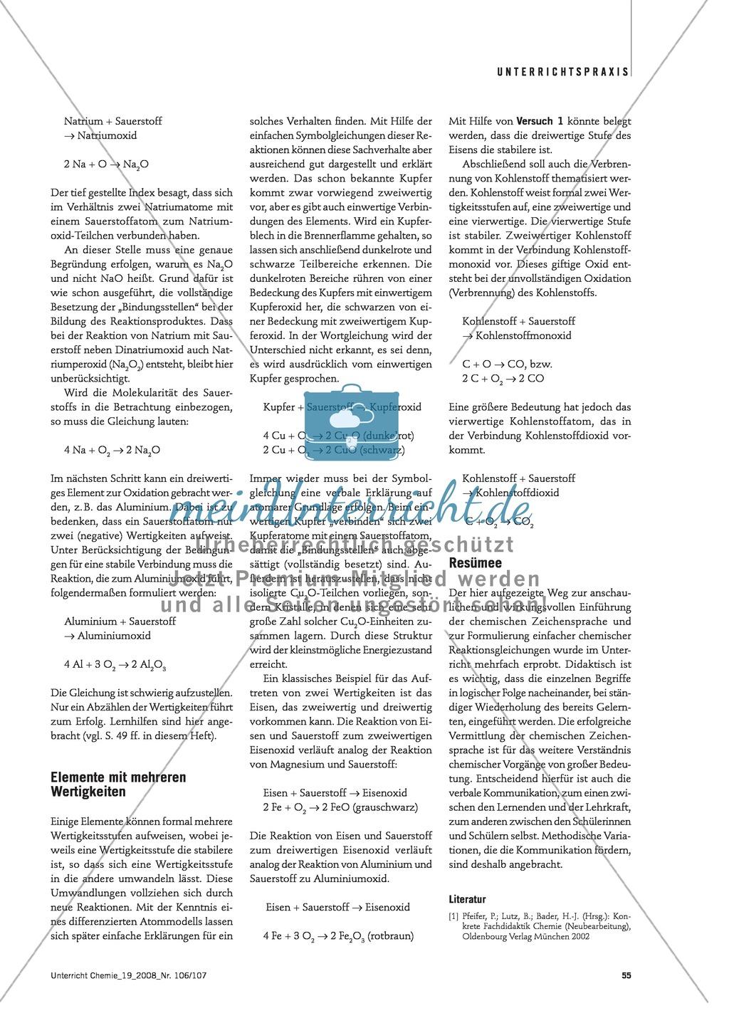Von der Wortgleichung zur Symbolgleichung + Der Wertigkeitsbegriff Preview 3