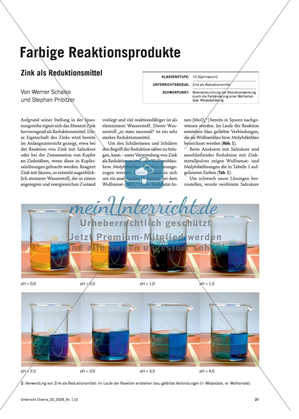 Zink als Reduktionsmittel - Die Reaktionsprodukte Molybdänblau + Wolframblau Preview 0