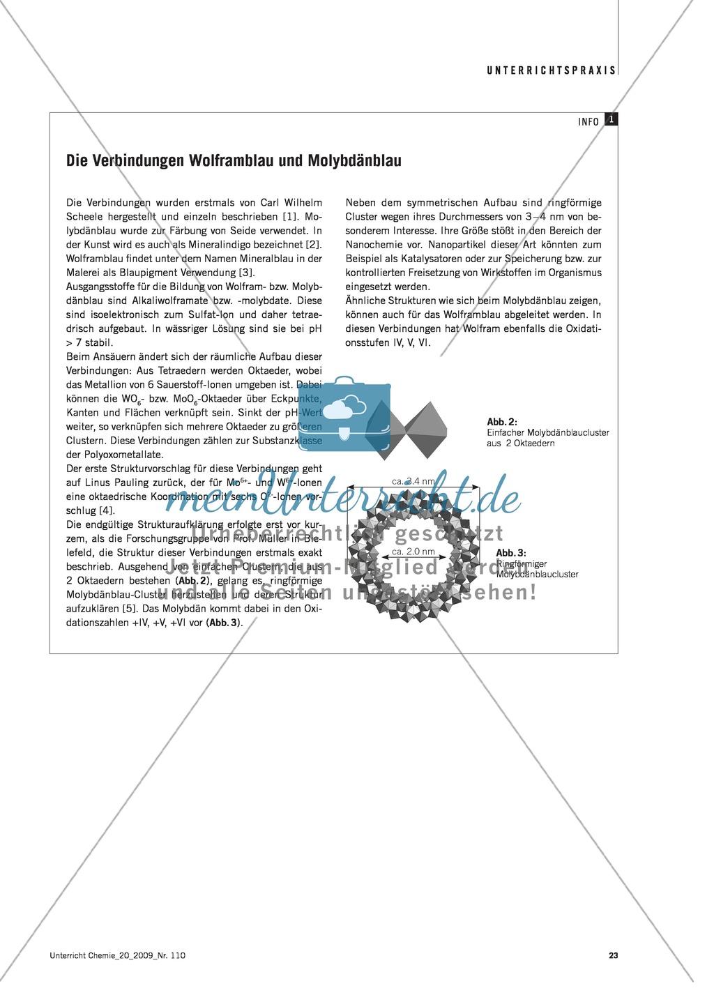 Zink als Reduktionsmittel - Die Reaktionsprodukte Molybdänblau + Wolframblau Preview 2