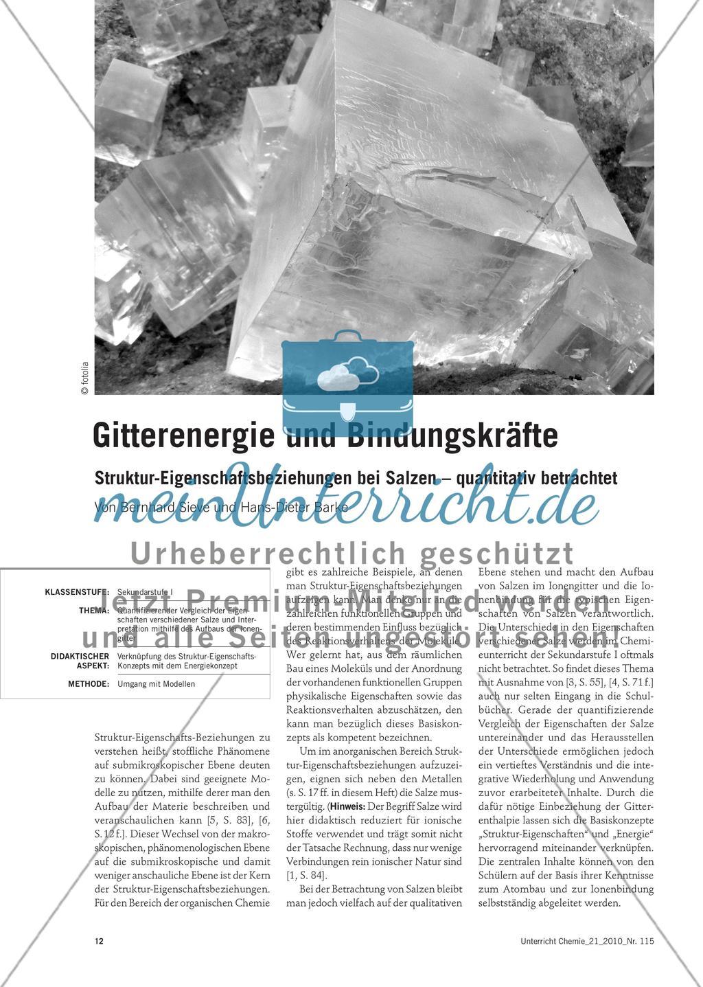 Gitterenergie und Bindungskräfte - Struktur-Eigenschaftsbeziehungen bei Salzen – quantitativ betrachtet Preview 1