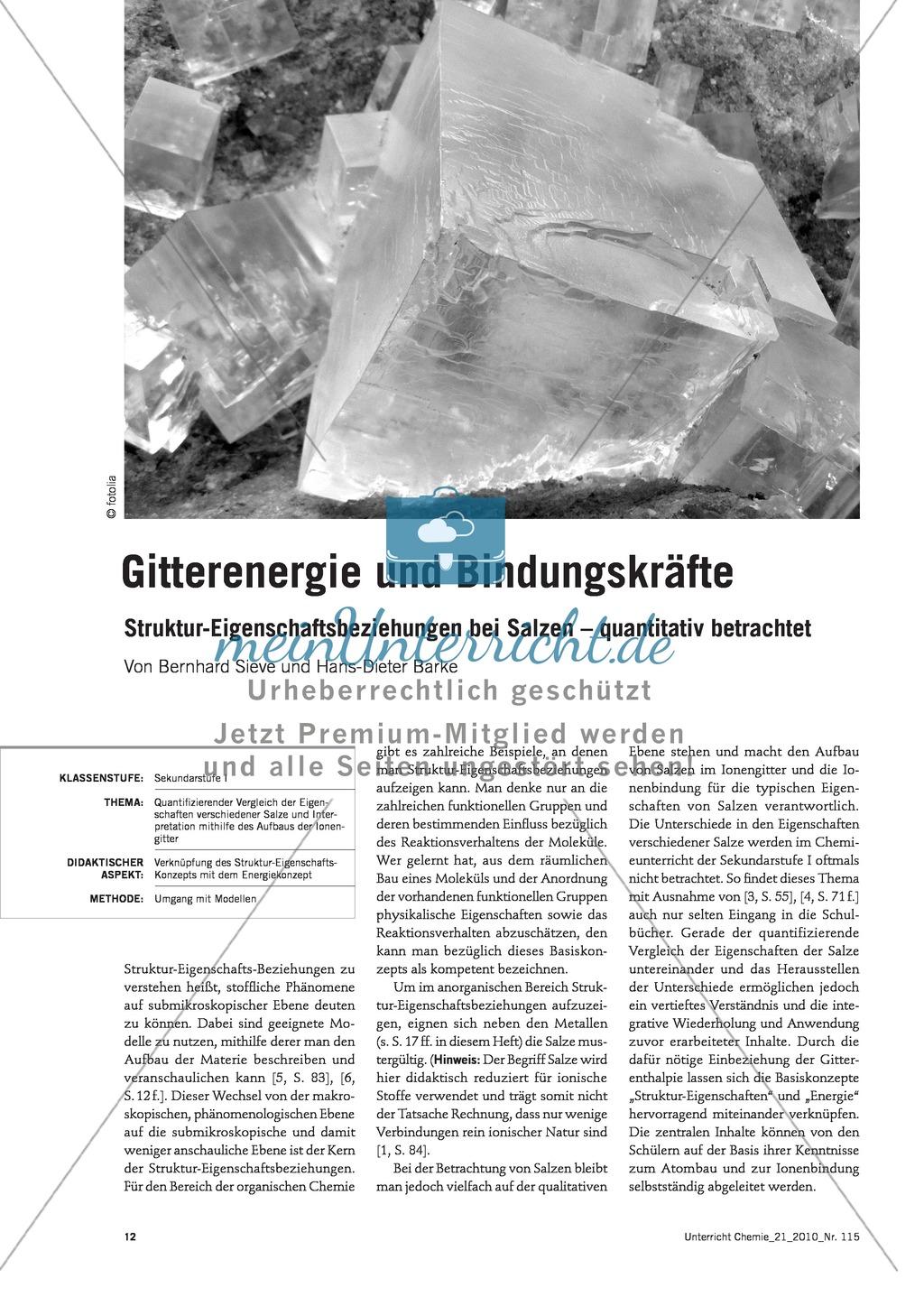 Quantifizierender Vergleich der Eigenschaften verschiedener Salze und Interpretation mithilfe des Aufbaus der Ionengitter Preview 0