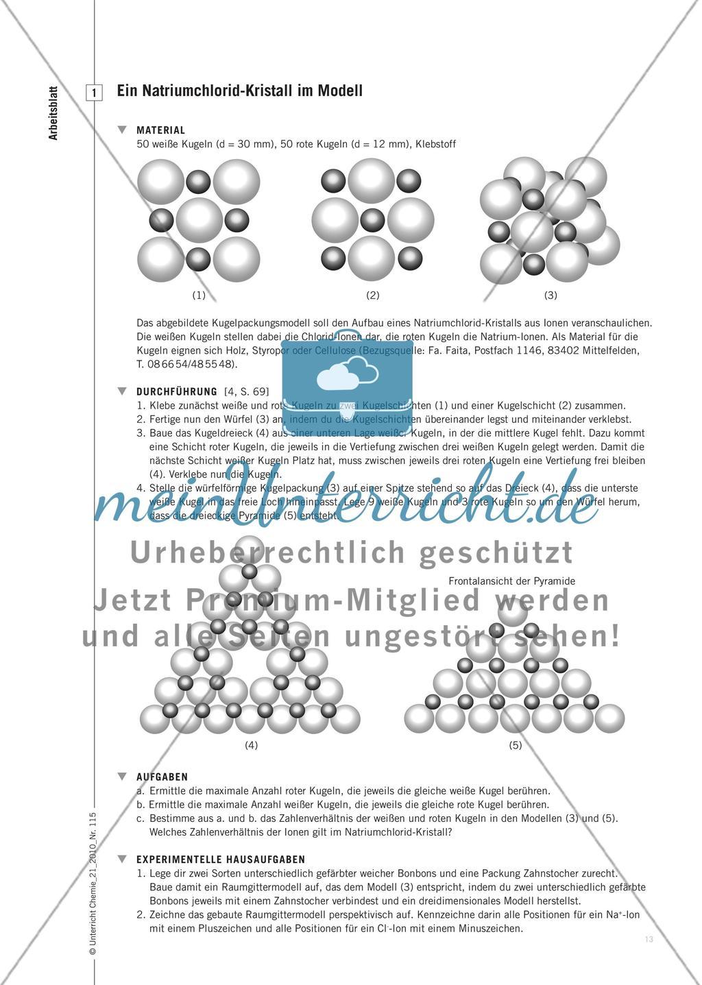 Gitterenergie und Bindungskräfte - Struktur-Eigenschaftsbeziehungen bei Salzen – quantitativ betrachtet Preview 2