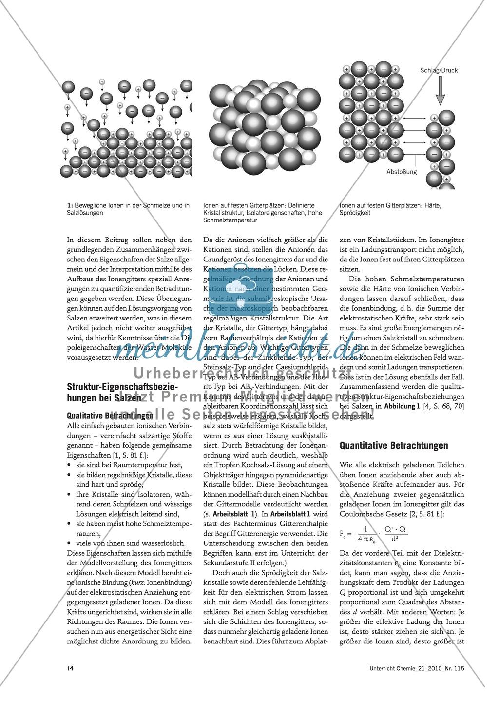 Quantifizierender Vergleich der Eigenschaften verschiedener Salze und Interpretation mithilfe des Aufbaus der Ionengitter Preview 2