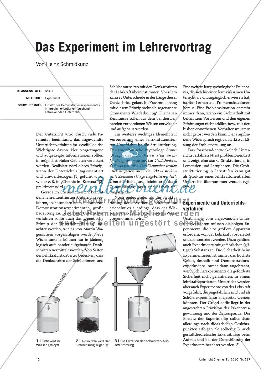 Lehrerzentrierter Unterricht - Das Demonstrationsexperiment im forschend-entwickelnden Unterricht am Beispiel Wasserreinigung Preview 0