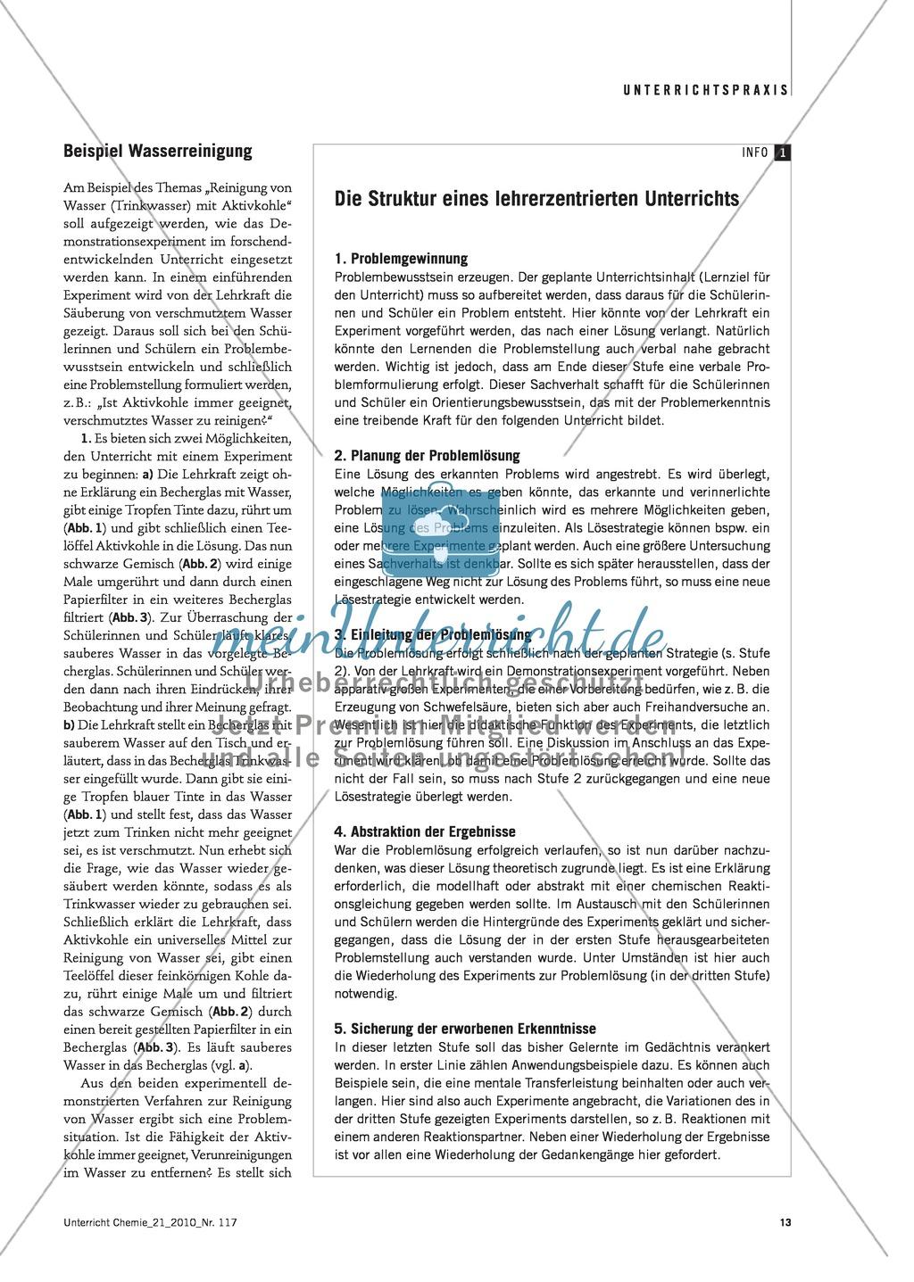 Lehrerzentrierter Unterricht - Das Demonstrationsexperiment im forschend-entwickelnden Unterricht am Beispiel Wasserreinigung Preview 1