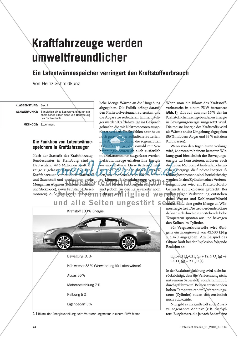 Latentwärmespeicher in Kraftfahrzeugen - Funktion, Material und Umsetzung im Unterricht Preview 1