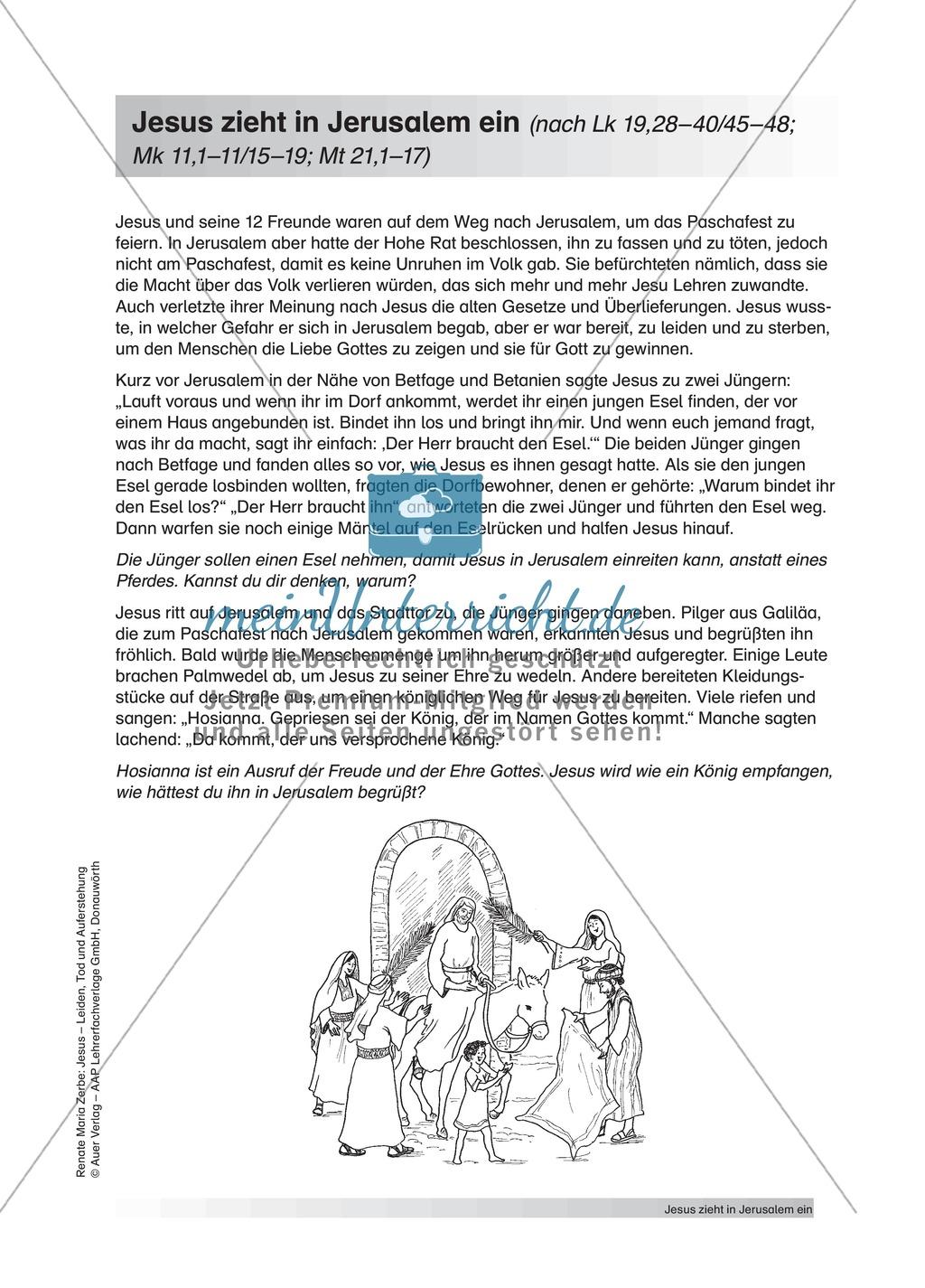 Jesus: Unterrichtsvorschlag zum Thema Palmsonntag + Lehrerinformation + Arbeitsblätter Preview 0