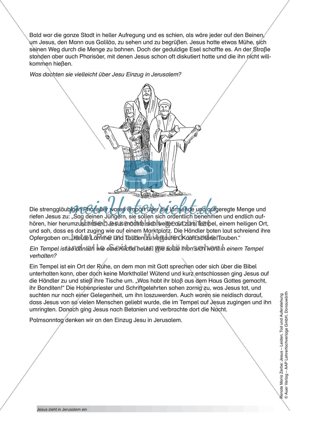 Jesus: Unterrichtsvorschlag zum Thema Palmsonntag + Lehrerinformation + Arbeitsblätter Preview 1
