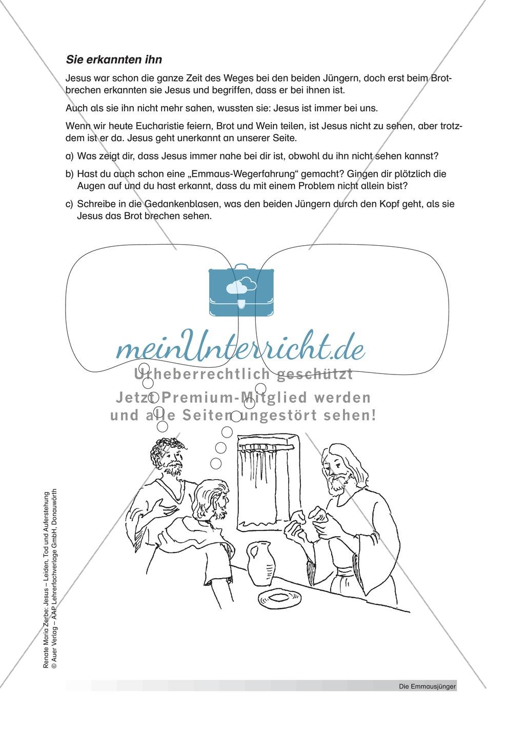 unterrichtsvorschlag zum thema die j nger von emmaus lehrerinformationen arbeitsbl tter. Black Bedroom Furniture Sets. Home Design Ideas