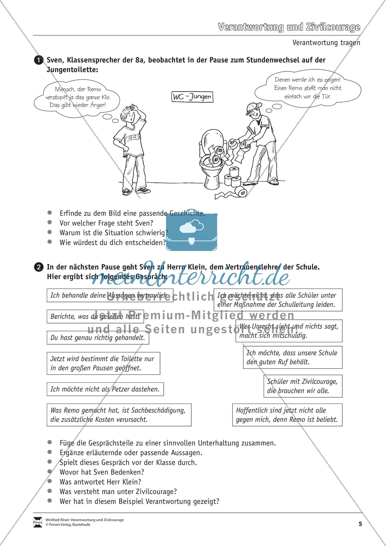 Verantwortung: Was es bedeutet Verantwortung zu übernehmen - Arbeitsblätter Preview 4