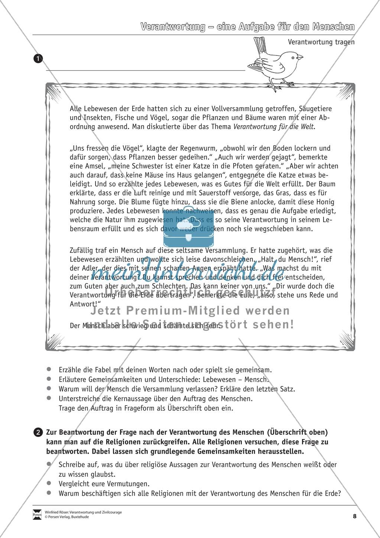 Verantwortung: Was es bedeutet Verantwortung zu übernehmen - Arbeitsblätter Preview 5