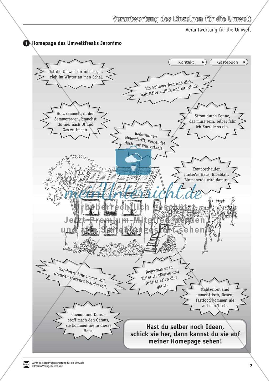 Verantwortung für die Umwelt: Die Verantwortung des Einzelnen - Arbeitsblätter Preview 0