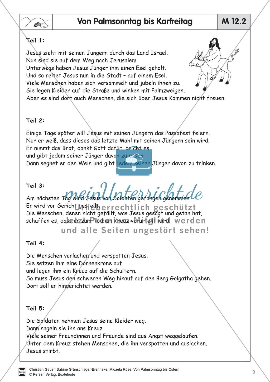 Material für die Passions- und Ostergeschichte - Bodenbilder, Erzählungen, Lieder Preview 1