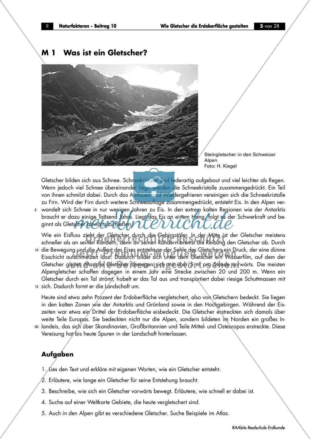 Entstehung + Aufbau eines Gletschers kennen lernen: Arbeitsblätter ...