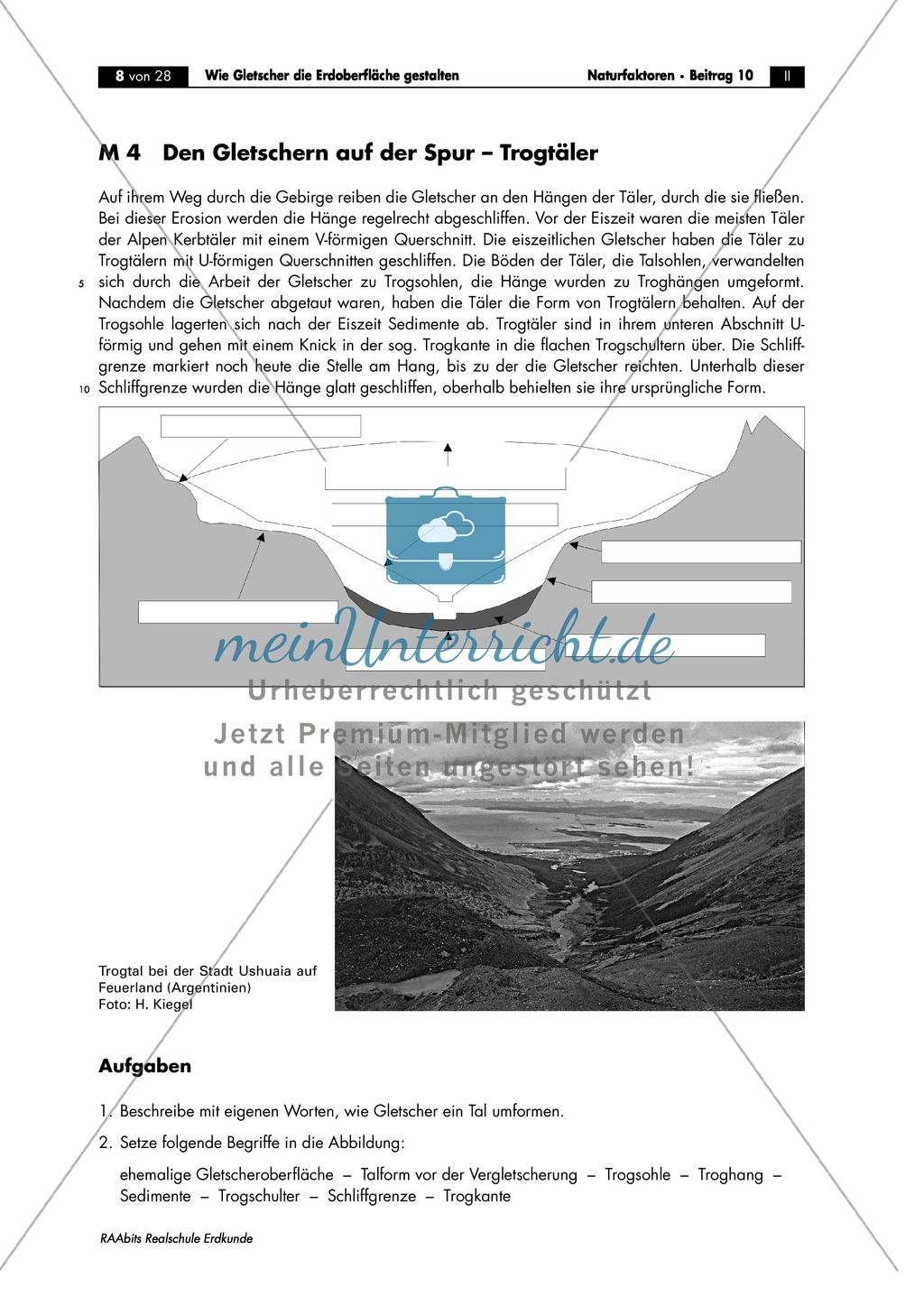 Gletscher - glaziale Erosionsformen: Trogtäler + Kar + Überformung durch Vergletscherung - Arbeitsblätter Preview 0