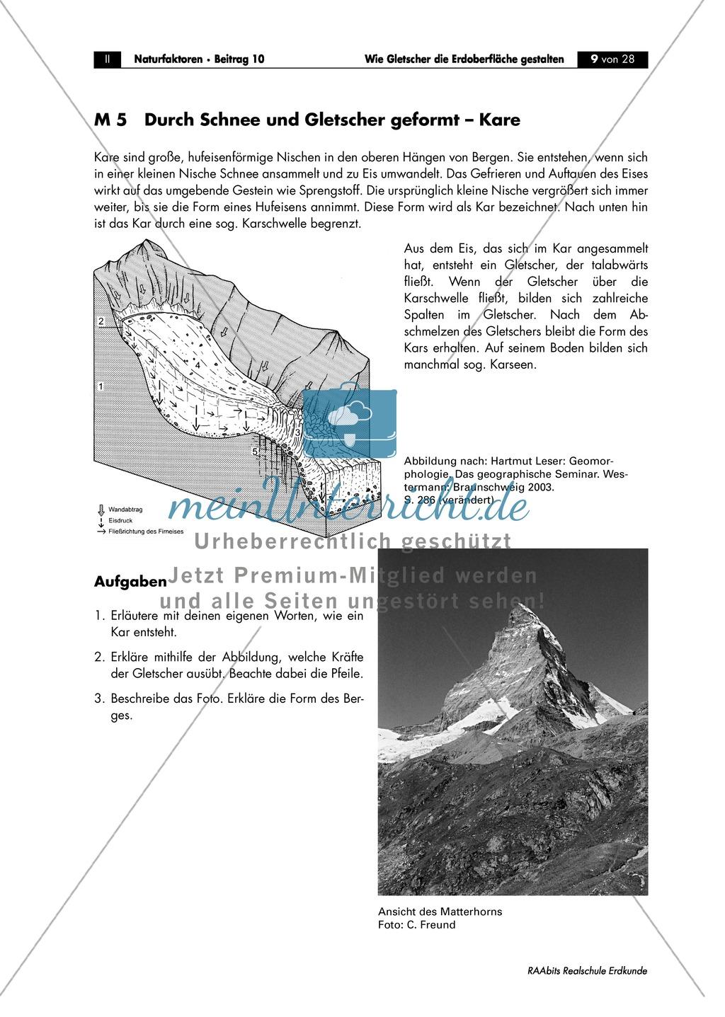Gletscher - glaziale Erosionsformen: Trogtäler + Kar + Überformung durch Vergletscherung - Arbeitsblätter Preview 1
