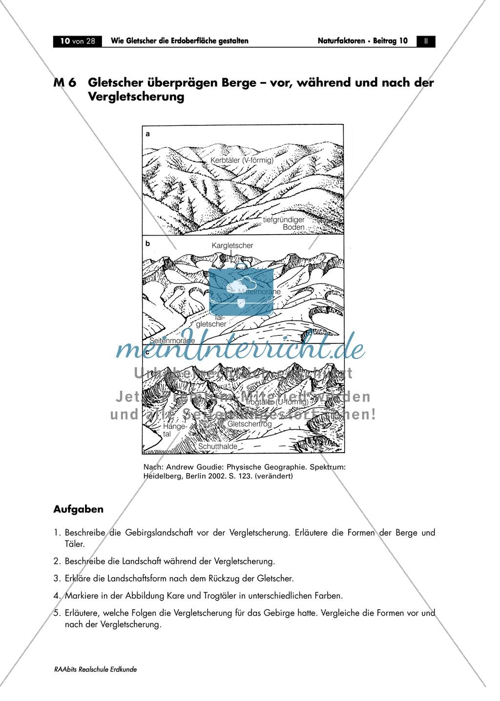 Gletscher - glaziale Erosionsformen: Trogtäler + Kar + Überformung durch Vergletscherung - Arbeitsblätter Preview 2
