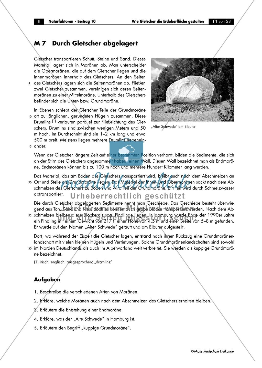Gletscher - glaziale Erosionsformen: Trogtäler + Kar + Überformung durch Vergletscherung - Arbeitsblätter Preview 3