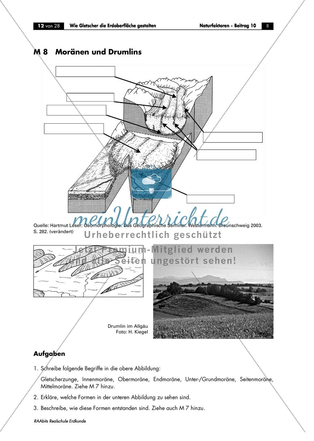 Wie Gletscher die Erdoberfläche gestalten: Moränenformen + Drumlins - Arbeitsblätter Preview 0