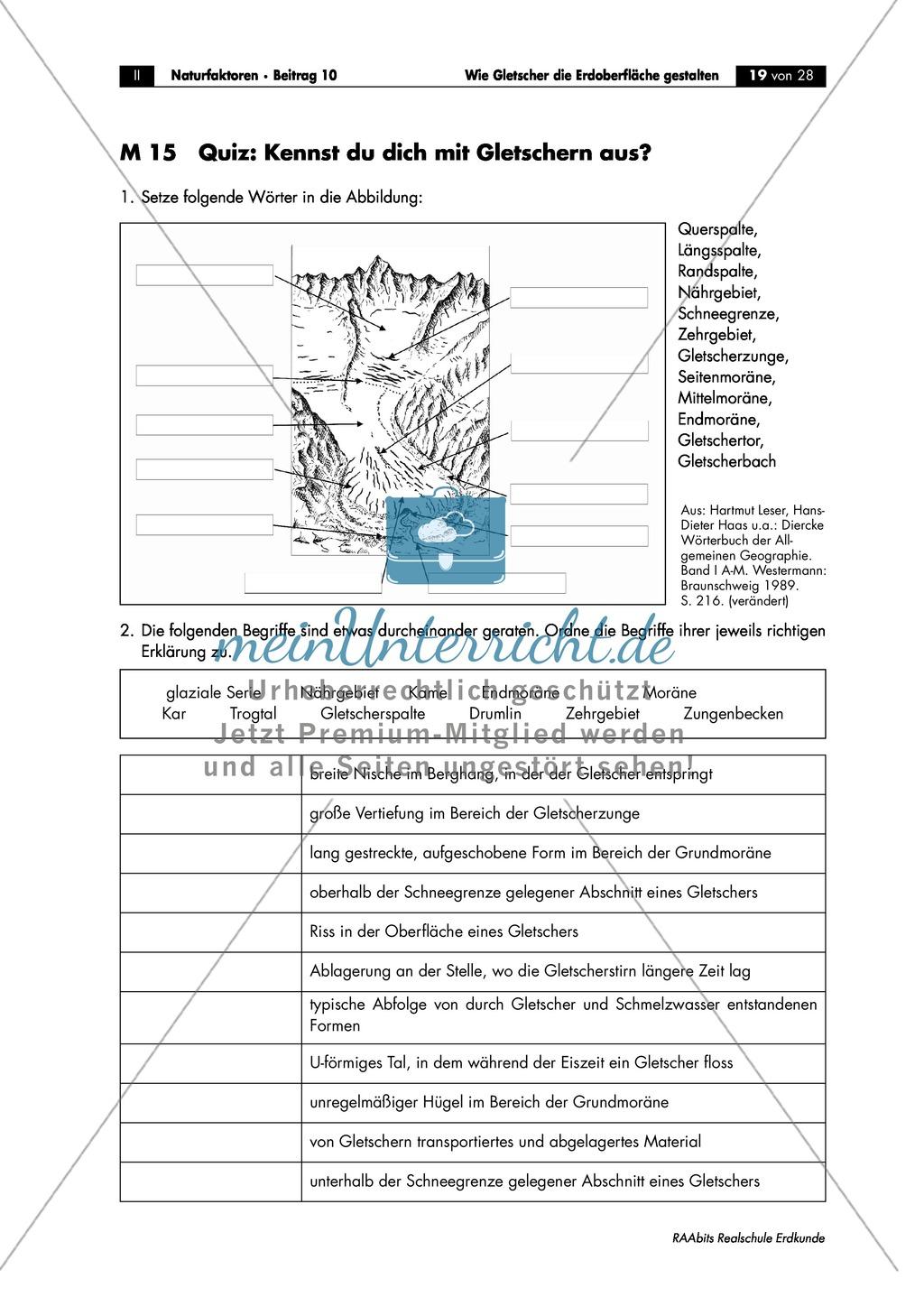 Wie Gletscher die Erdoberfläche gestalten: Wiederholung + Lernerfolgskontrolle Preview 1