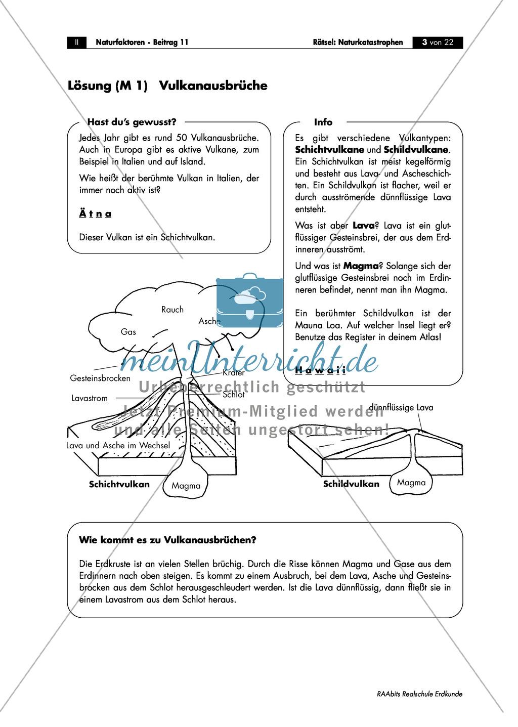 Vulkantypen und Vulkanausbrüche - kurzes informatives Arbeitsblatt mit Rätselspaß Preview 2