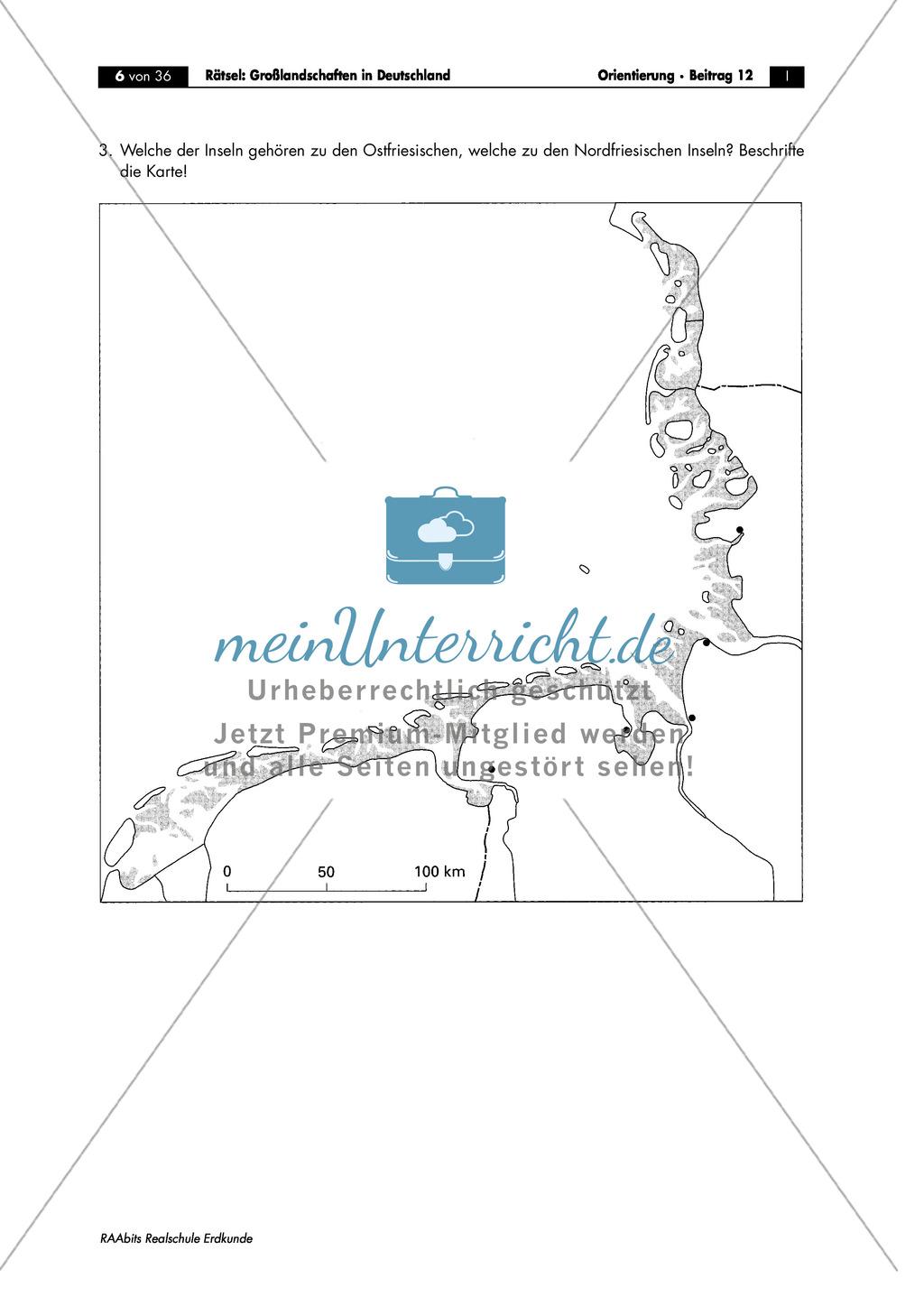 Großlandschaften in Deutschland - ein Rätsel: Inseln in der Nord- und Ostsee Preview 1