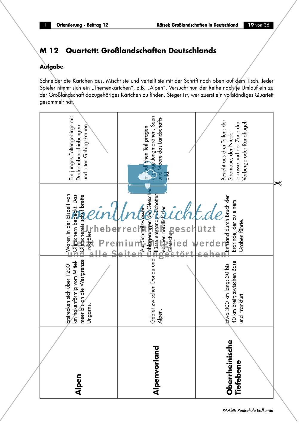 Großlandschaften in Deutschland - ein Rätsel: Merkmale + Quartett Preview 1