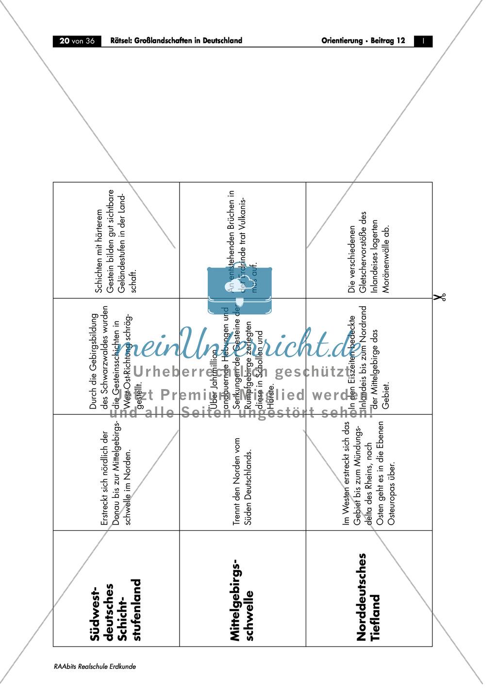 Großlandschaften in Deutschland - ein Rätsel: Merkmale + Quartett Preview 2