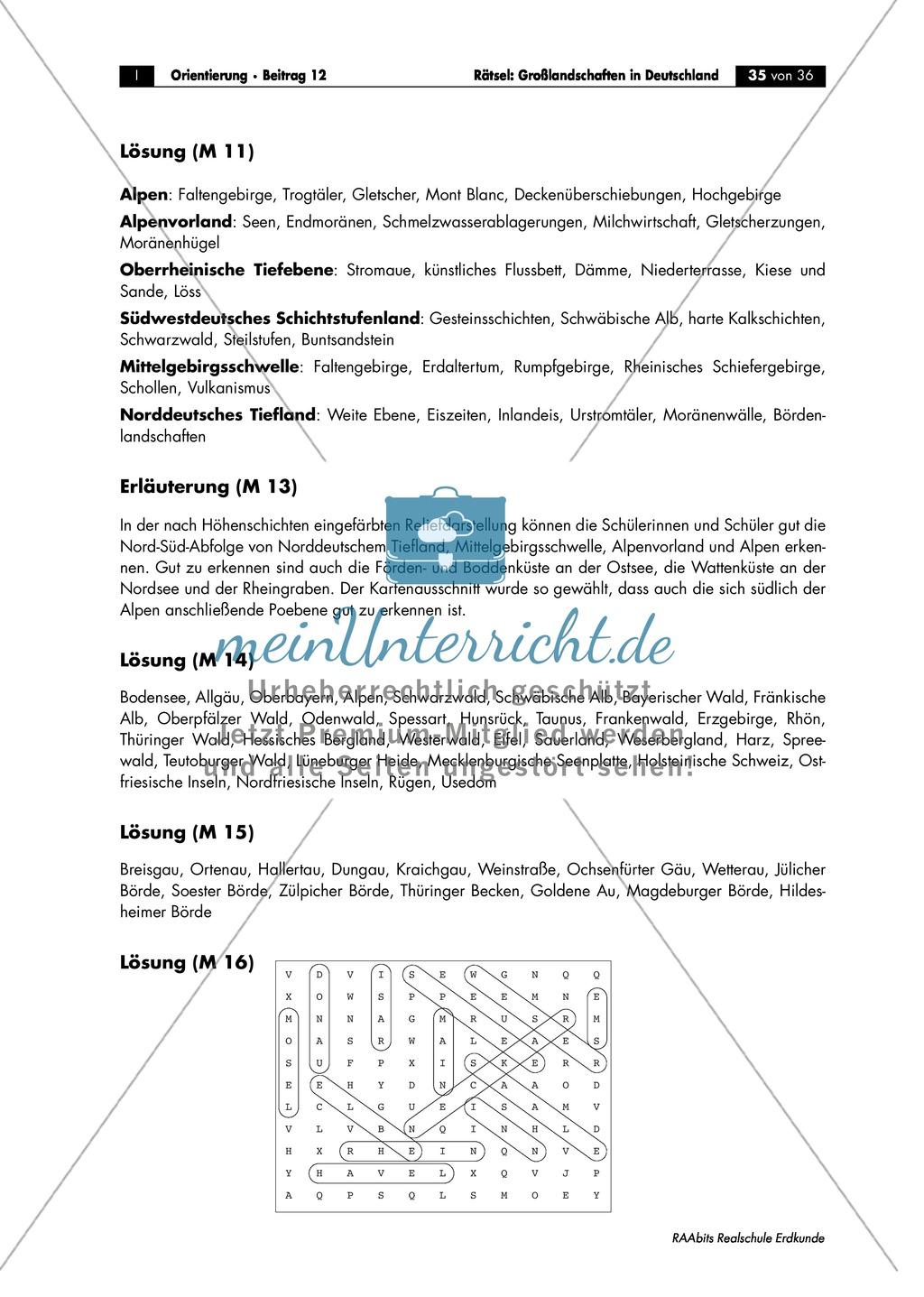 Großlandschaften in Deutschland - ein Rätsel: Merkmale + Quartett Preview 4