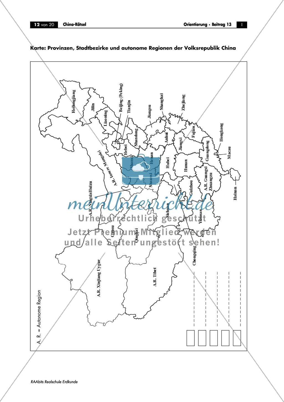China: Aufgaben zur Topografie und Länderkunde Preview 12