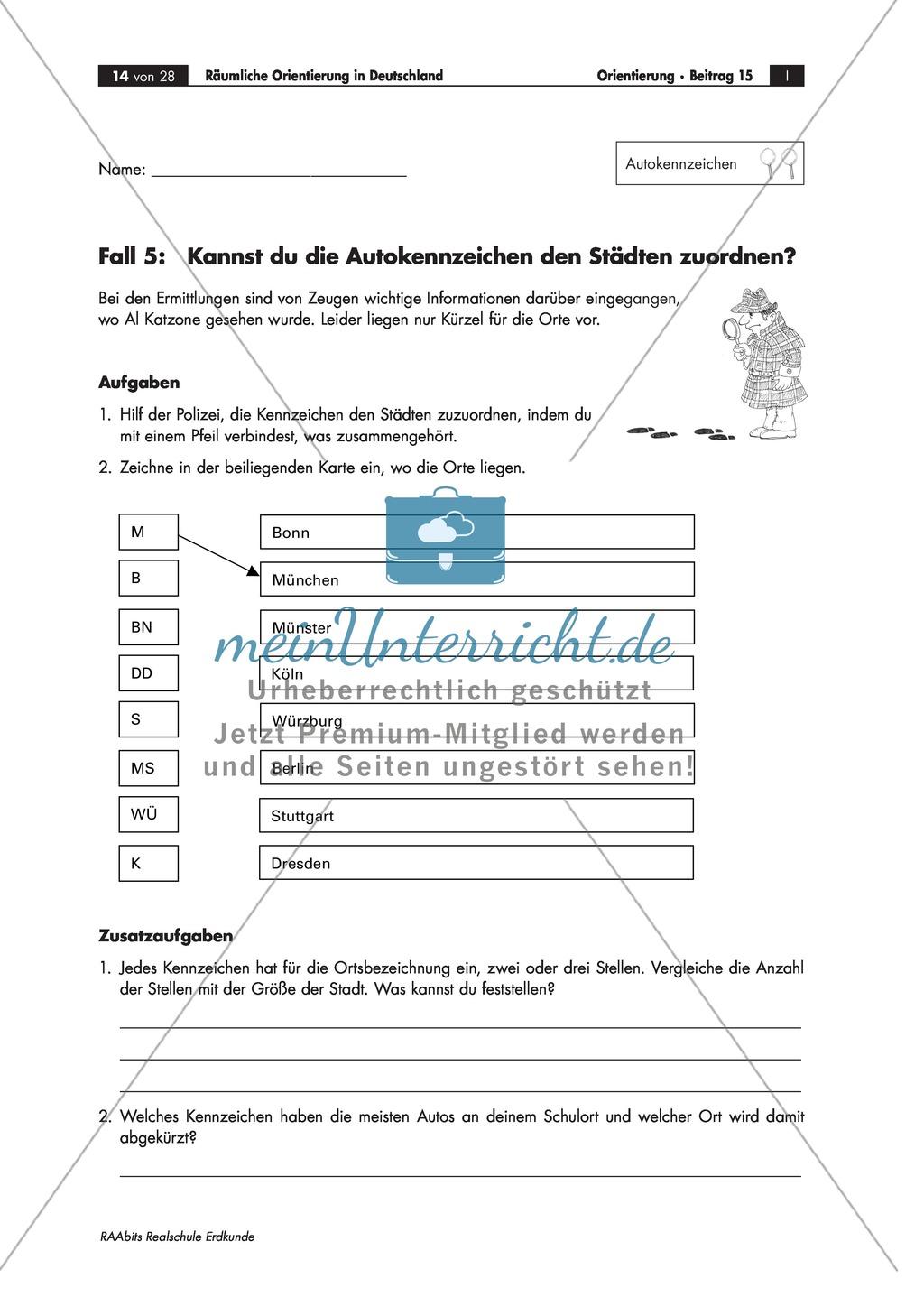 Lernzirkel zur räumlichen Orientierung in Deutschland: Bundesländer + Nachbarländer + Flüsse + Gebirge und Landschaften + Hauptstädte + Autokennzeichen + Wappen Preview 10
