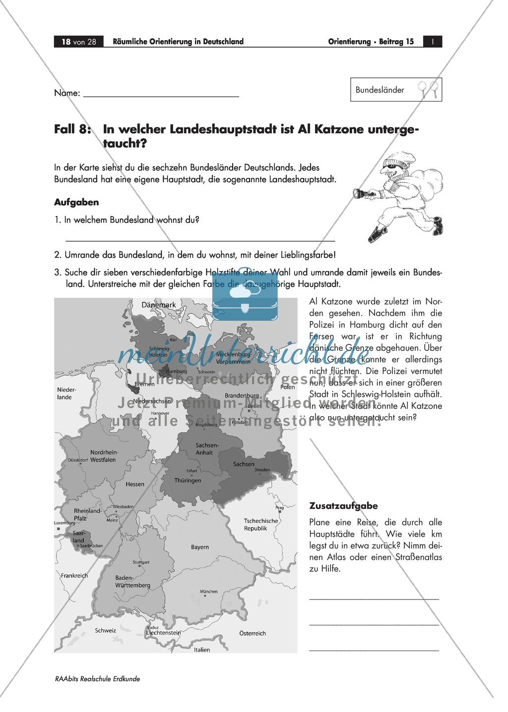 Lernzirkel zur räumlichen Orientierung in Deutschland: Bundesländer + Nachbarländer + Flüsse + Gebirge und Landschaften + Hauptstädte + Autokennzeichen + Wappen Preview 14