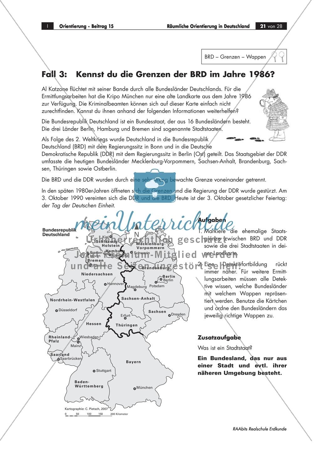 Lernzirkel zur räumlichen Orientierung in Deutschland: Bundesländer + Nachbarländer + Flüsse + Gebirge und Landschaften + Hauptstädte + Autokennzeichen + Wappen Preview 17