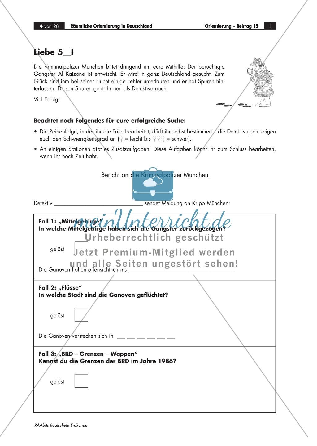 Lernzirkel zur räumlichen Orientierung in Deutschland: Bundesländer + Nachbarländer + Flüsse + Gebirge und Landschaften + Hauptstädte + Autokennzeichen + Wappen Preview 0