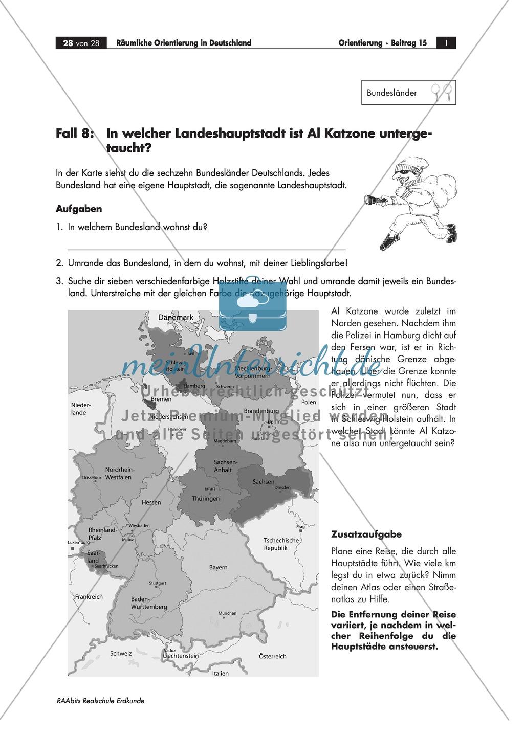 Lernzirkel zur räumlichen Orientierung in Deutschland: Bundesländer + Nachbarländer + Flüsse + Gebirge und Landschaften + Hauptstädte + Autokennzeichen + Wappen Preview 24