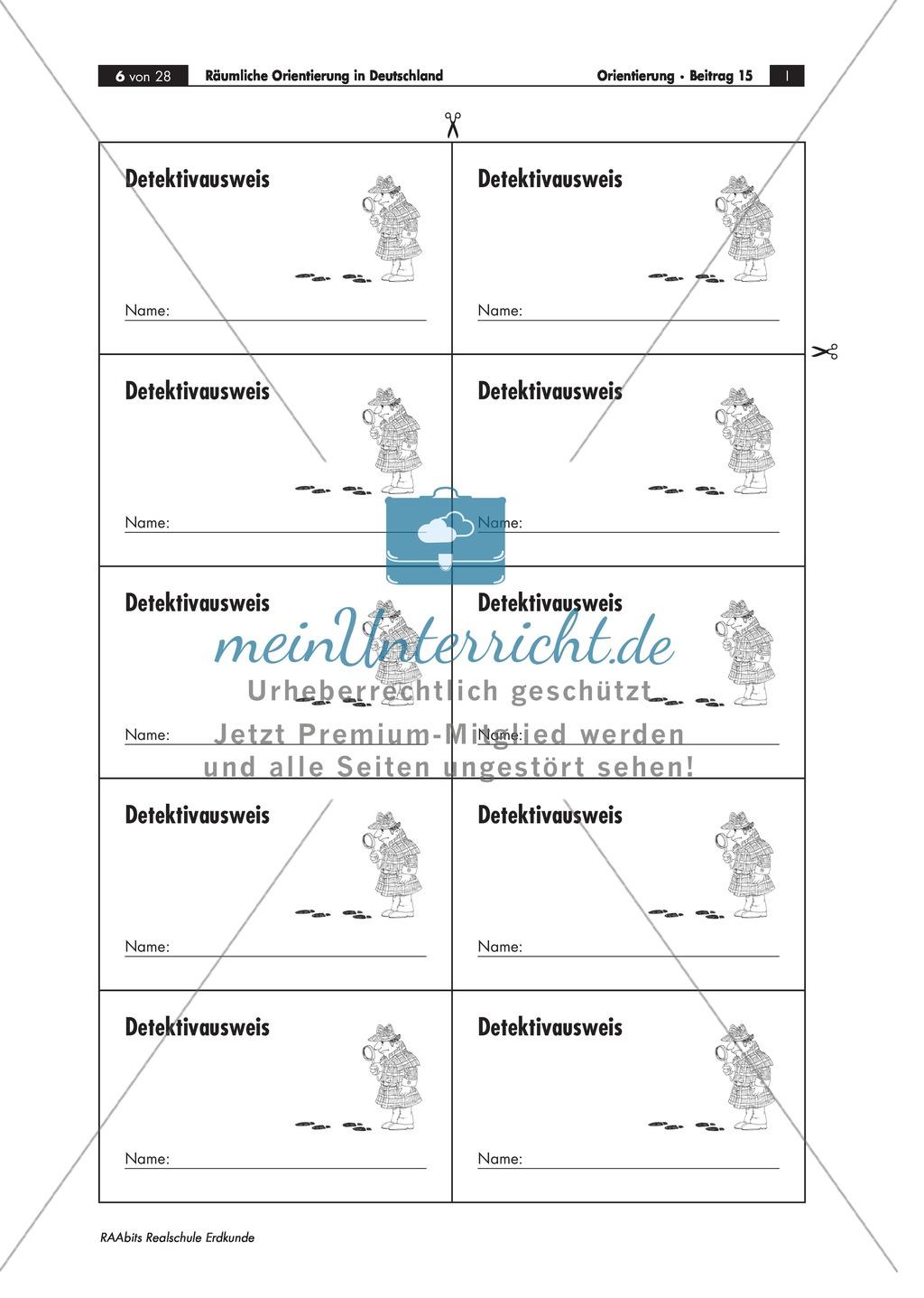 Lernzirkel zur räumlichen Orientierung in Deutschland: Bundesländer + Nachbarländer + Flüsse + Gebirge und Landschaften + Hauptstädte + Autokennzeichen + Wappen Preview 2