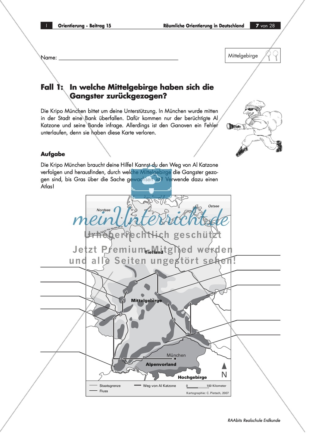 Lernzirkel zur räumlichen Orientierung in Deutschland: Bundesländer + Nachbarländer + Flüsse + Gebirge und Landschaften + Hauptstädte + Autokennzeichen + Wappen Preview 3