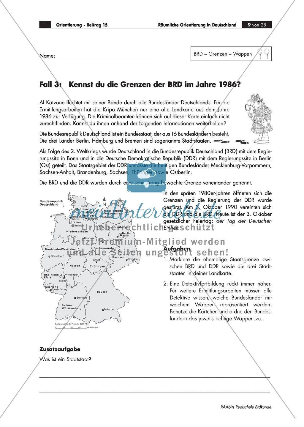 Lernzirkel zur räumlichen Orientierung in Deutschland: Bundesländer + Nachbarländer + Flüsse + Gebirge und Landschaften + Hauptstädte + Autokennzeichen + Wappen Preview 5
