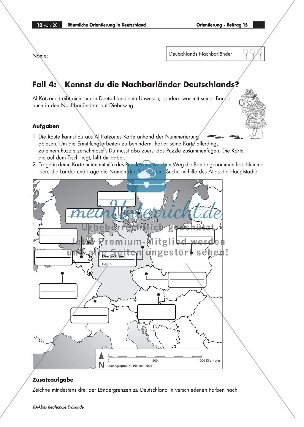 Lernzirkel zur räumlichen Orientierung in Deutschland: Bundesländer + Nachbarländer + Flüsse + Gebirge und Landschaften + Hauptstädte + Autokennzeichen + Wappen Preview 8
